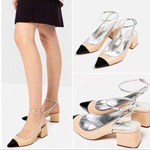 Zara nude cap toe block heels